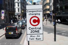 London Congestion Charging Zone Sign. Congestion Charge Zone Sign, introduced 2003 to reduce congestion in central London. The standard charge is 11.50 for each royalty free stock images
