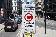 London Congestion Charging Zone Sign Royalty Free Stock Image