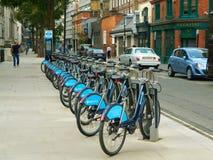 Boris Bikes for Hire near Soho in London UK stock photo