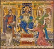 London - das mit Ziegeln gedeckte Mosaik von Salomon Judgment Just Judgment in Westminster-Kathedrale stockbilder