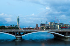 London at dawn. View from Chelsea bridge Stock Photography