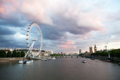 London at dawn. View from Golden Jubilee bridge Royalty Free Stock Photos