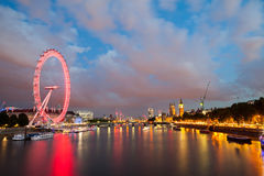 London at dawn. View from Golden Jubilee bridge Stock Photo