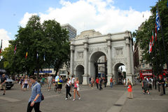 London - A Day of Olympics 2012. OLYMPIC CITY, LONDON - AUG 9 : Marble Arch during the Olympic Games 2012 on August 9, 2012 in London, UK Royalty Free Stock Images