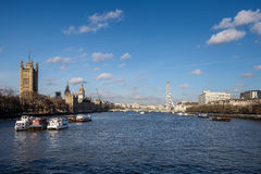 LONDON - DEC 9 : View along the River Thames to the Houses of Pa Stock Photos