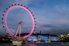 LONDON - DEC 20 : View of the London Eye at Night in London on D Stock Image