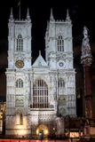 LONDON - DEC 20 : View of Westminster Abbey at Nighttime in Lond Stock Photography