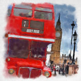 London in der Aquarellart Stockbild