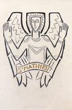 London - The detail of modern St. Matthew the Evangelist symbol carved in stone in church Notre Dame de la France. LONDON, GREAT BRITAIN - SEPTEMBER 18, 2017 Royalty Free Stock Image