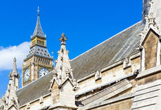 London. Detail of the Westminster palace seat of Parliament Royalty Free Stock Photos