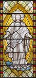 London - detaljen av Jesus Christ från omgestaltningplats på målat glass i kyrkaSten Catharine Cree Royaltyfri Fotografi