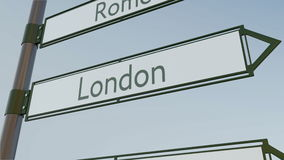 London direction sign on road signpost with European cities captions. Conceptual 3D rendering. London direction sign on road signpost with European cities Stock Photos