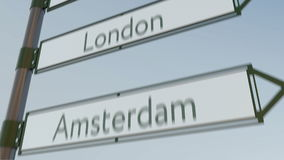 London direction sign on road signpost with European cities captions. 4K conceptual clip. London direction sign on road signpost with European cities captions stock footage