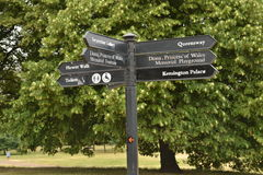 London landmarks  directions signpost. London landmarks directions signpost in Kensington Gardens Park with directions for Kensington Palace , Princess Diana Royalty Free Stock Photo