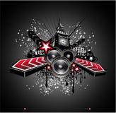 London-Disco-Musik-Flugblatt-Hintergrund Lizenzfreie Stockbilder