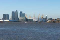 London Docklands. Business district, O2 arena and river Thames stock photos