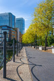 London uk docklands. Autumnal view to finance district Stock Photo