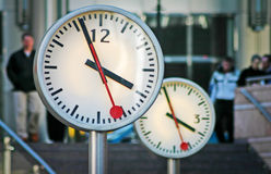 London Docklands clocks Royalty Free Stock Photo
