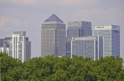 London Docklands from Greenwich. London Docklands 8 August 2012. View of skyscrapers in the London Docklands from Greenwich Royalty Free Stock Photography