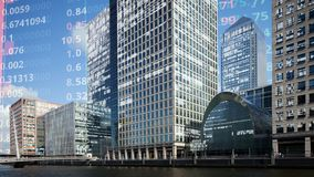 London docklands skyline with data and code stock photo