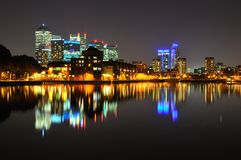 London docklands skyline at night Stock Images
