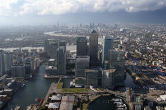 London docklands skyline view from above Royalty Free Stock Images