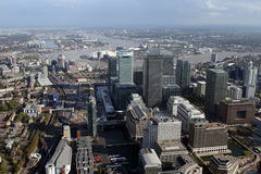 London docklands skyline view from above. A view of london docklands skyline from a helicopter Royalty Free Stock Image