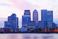 London Docklands skyscrapers at twilight Royalty Free Stock Photo