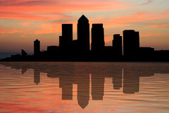 London Docklands at sunset. London Docklands Skyline at sunset with beautiful sky illustration Royalty Free Stock Images