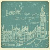 London doodles drawing landscape in vintage style Royalty Free Stock Photo