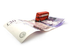 London double decker bus. 20 pounds. Royalty Free Stock Images