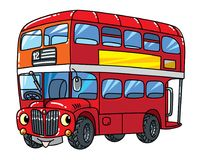 Funny small London bus with eyes. royalty free illustration