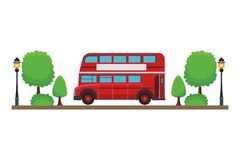London double decker bus. With trees in white background vector illustration graphic design stock illustration