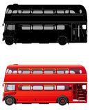 London double decker red bus, vector illustration. Isolated on white. Icon. Silhouette. Flat style. High level of details. Transparent windows in the cabin Stock Photos