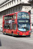 London double decker. LONDON, UK - MAY 13, 2012: People ride double decker bus in London. Part of city public transportation, London Buses carry 6 million peopl Stock Images