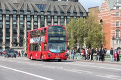 London doubledecker. LONDON, UK - MAY 16, 2012: People ride London Bus in London. As of 2012, LB serves 19,000 bus stops with a fleet of 8000 buses. On a weekday Royalty Free Stock Photos