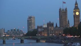London Downtown Night View with Westminster Palace and Big Ben Tower Lighted stock video