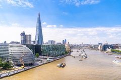 London downtown with River Thames stock photo