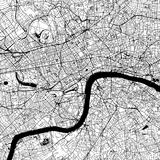 London Downtown Vector Map. Monochrome Artprint, Outline Version for Infographic Background, Black Streets and Waterways Stock Photos