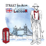 London dude men.Street fashion.Watercolor splash background Stock Image