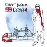 London dude men.Watercolor background.Street fashion Royalty Free Stock Image