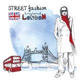 London dude men.Watercolor background.Street fashion Royalty Free Stock Image