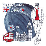 London dude men.Watercolor splash background.Street fashion Stock Photography