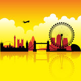 London at dusk. London skyline silhouette at dusk with reflection on thames royalty free illustration