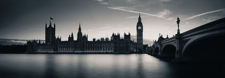London at dusk. Big Ben and House of Parliament in London at dusk panorama Stock Photos
