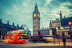 London at early morning. Double-decker bus in night London Stock Photos