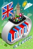 London in einer Uhr Stockbild