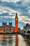 London with the Elizabeth Tower and Houses of Parliament Stock Image