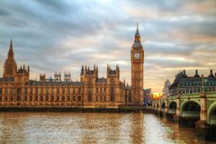 London with the Elizabeth Tower and Houses of Parliament Stock Photography