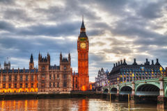 London with the Elizabeth Tower and Houses of Parliament Stock Photo